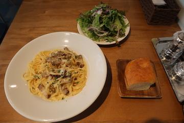 燻製パンチェッタと黒胡椒のカルボナーラ(ランチセット)
